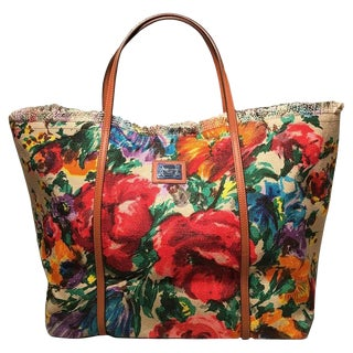 Dolce and Gabbana Floral Print XL Canvas Tote Weekend Bag For Sale