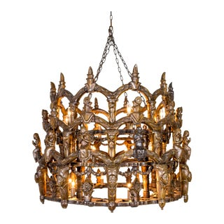 S. American Folk Carved Wooden Chandelier With Figures and Arches For Sale