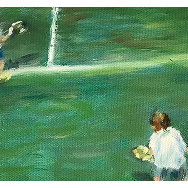 "The Tennis Game Original Oil Painting Framed Wood Frame Greens Art Signed by Artist 8""x10"" painting on canvas. 2"" real..."