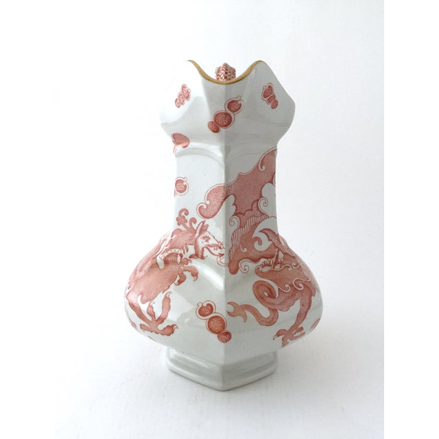 Asian Large Mason's Ironstone Ceramic Pitcher Jug in Chinese Dragon Pattern For Sale - Image 3 of 13