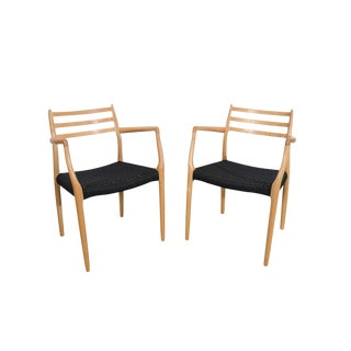 j.l. Moller Model #62 Danish Cord Beech Dining Chairs - a Pair For Sale