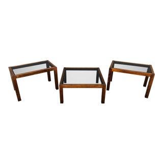 1970s Rare Smoke Glass/Wood Coffee/Side Tables - Set of 3