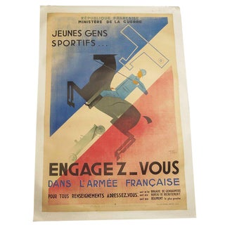 """French Art Deco Poster by Jean Carlu """"Engagez-Vous"""""""