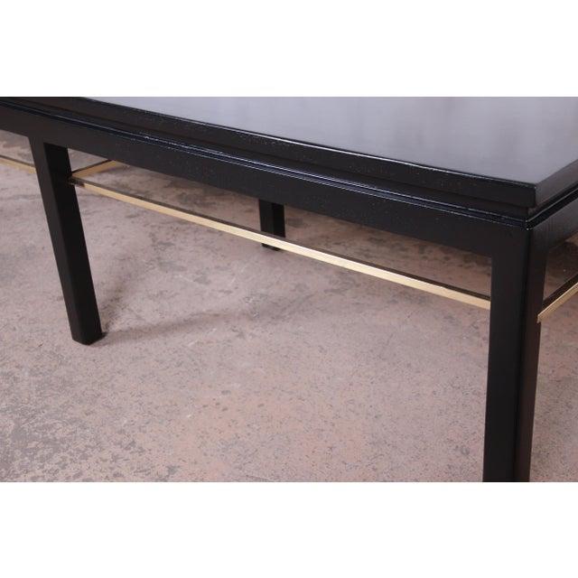 Dunbar Furniture Edward Wormley for Dunbar Ebonized Walnut and Brass Coffee Table, Newly Restored For Sale - Image 4 of 9