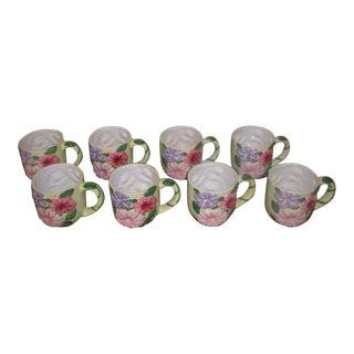 Vintage Colorful Glazed Earthenware Mugs - Set of 8