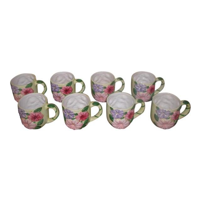Vintage Colorful Glazed Earthenware Mugs - Set of 8 For Sale
