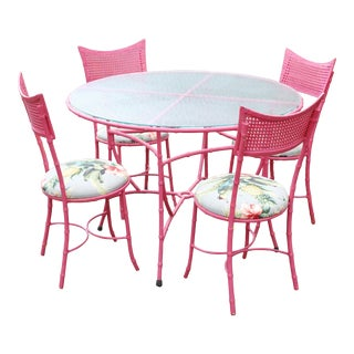 Vintage Pink Wrought Iron Faux Bamboo and Cane Back Outdoor Dining Set - Set of 5 For Sale
