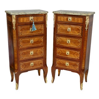 Pair of Louis XVI Style Tulipwood and Ormolu Mounted Petit Commodes For Sale
