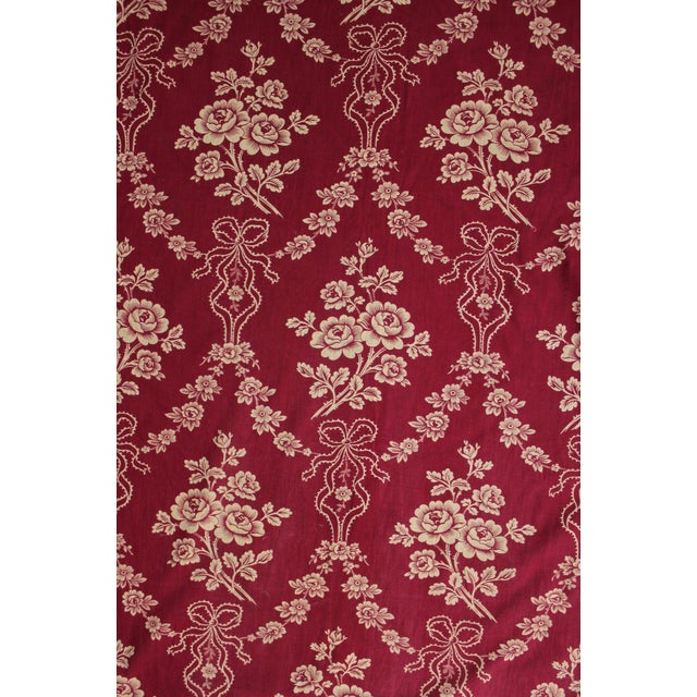 """Antique 1890s French Burgundy Ribbon & Floral Printed Cotton Fabric - 32"""" X 63"""" For Sale"""