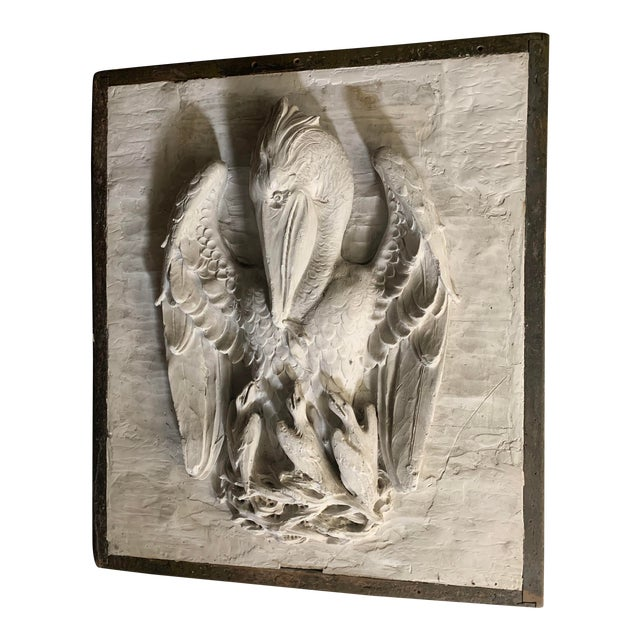 19th Century Framed Plaster Relief Liturgical Art of the Mother Pelican Cast by P. P. Caproni For Sale