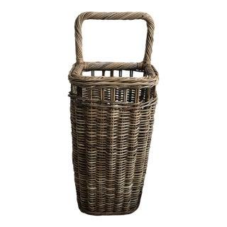 French Wicker Market Basket For Sale
