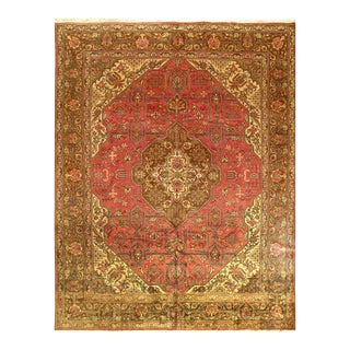 Rust Persian Antique Tabriz Rug 9'7'' X 12'7'' For Sale