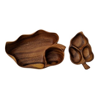 Vintage Monkey Pod Wood Leaf Bowl and Tray