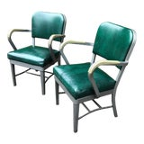 Image of 1950s Vintage All Steel Emerald Green Industrial Chairs- a Pair For Sale