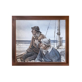 """""""Fishermen Overlooking Sea"""" - Framed Oil Painting For Sale"""