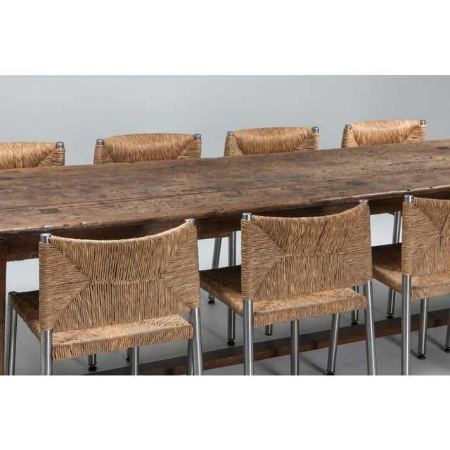 1800s Rustic Modern Refactory Oak Dining Table For Sale - Image 6 of 13