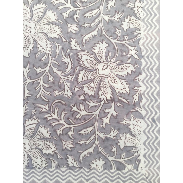 European Handmade Block Print Tablecloth For Sale - Image 4 of 5
