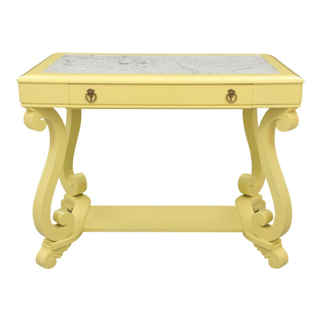 Neoclassical Style Yellow Marble Top Hall Table For Sale