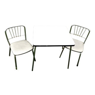 Mid-Century Child's Formica & Chrome Table & Chairs - Set of 3 For Sale