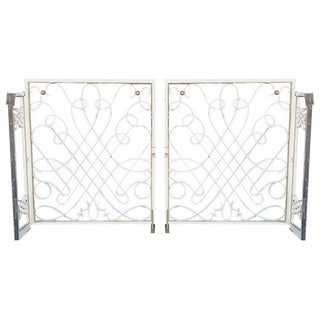1940s French Wrought Iron Rene Prou Style Gates For Sale