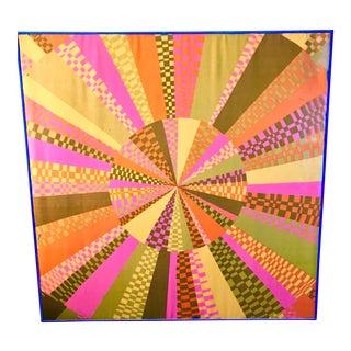 Framed Abstract Sunburst Textile Art