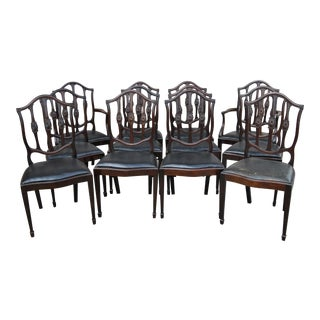 Mahogany English Hepplewhite Style Chairs- Set of 12 For Sale