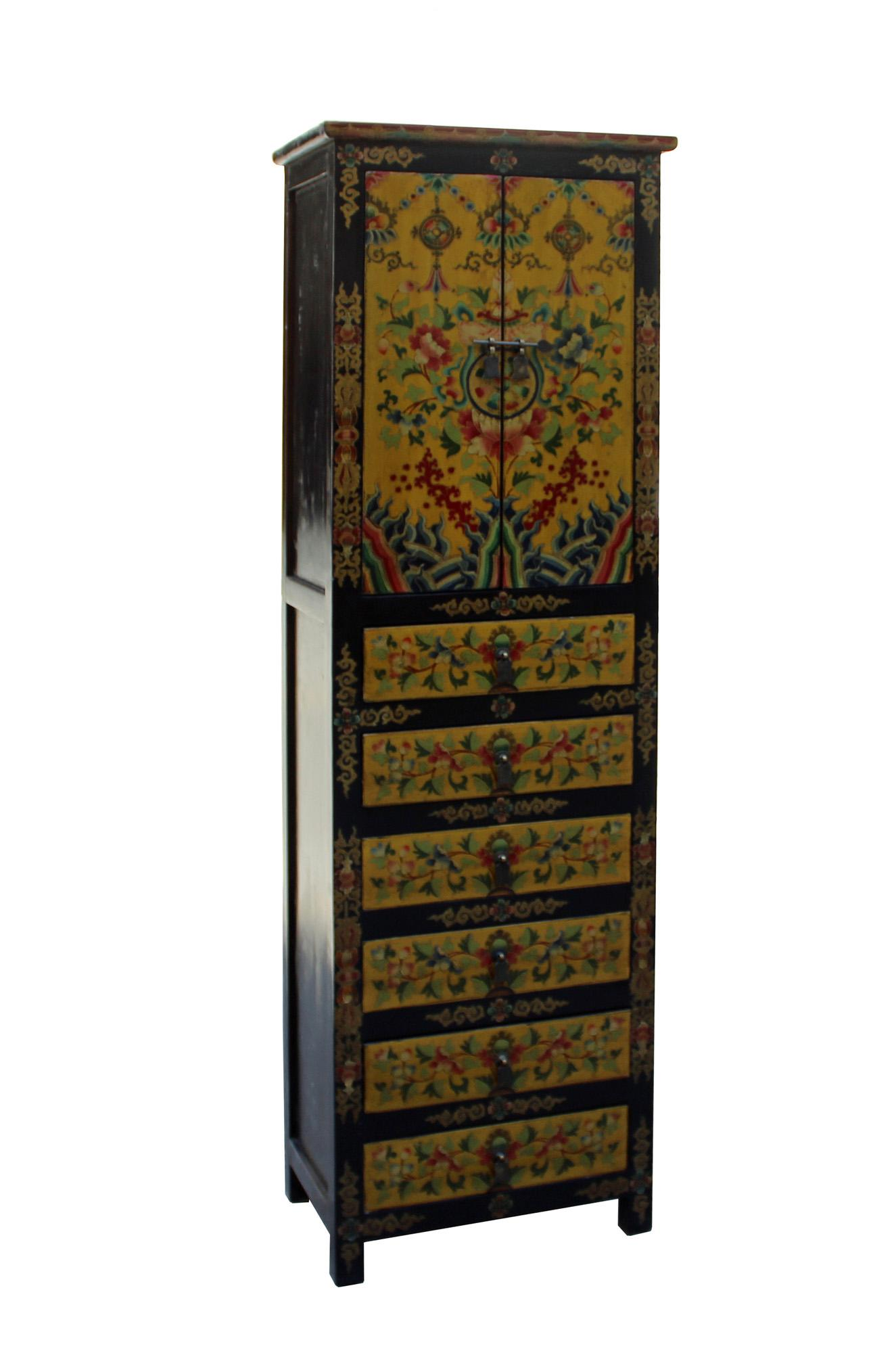 Asian Chinese Tibetan Flower Graphic Tall Slim Multi Drawers Cabinet For  Sale   Image 3 Of