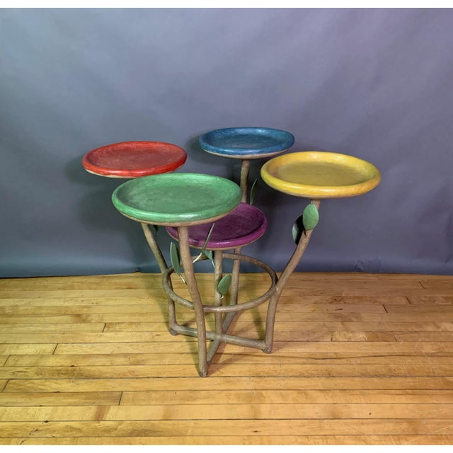 French Artist Designed Polychrome Resin Plant Stand For Sale - Image 11 of 11
