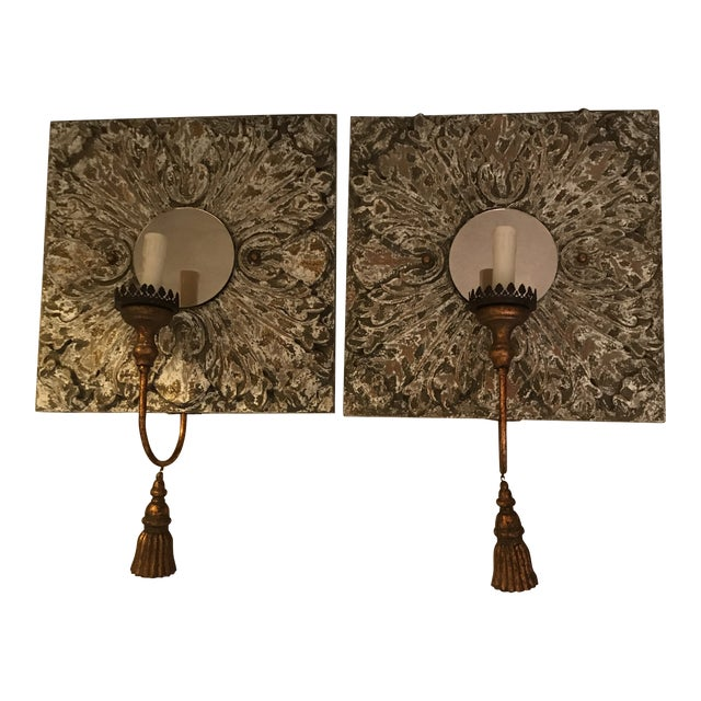 Carved Wood and Mirror Wall Sconces - a Pair For Sale