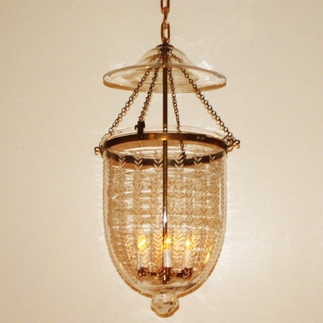 1950s Etched Bell Lantern With Brass Details, C. 1950 For Sale - Image 5 of 6