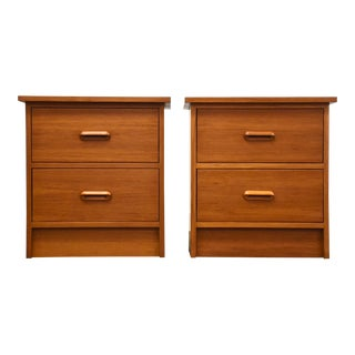 Danish Style Modern Teak Nightstands - a Pair For Sale