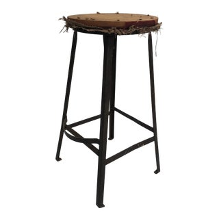 Vintage Industrial Metal Shop Stool With Wood Top For Sale