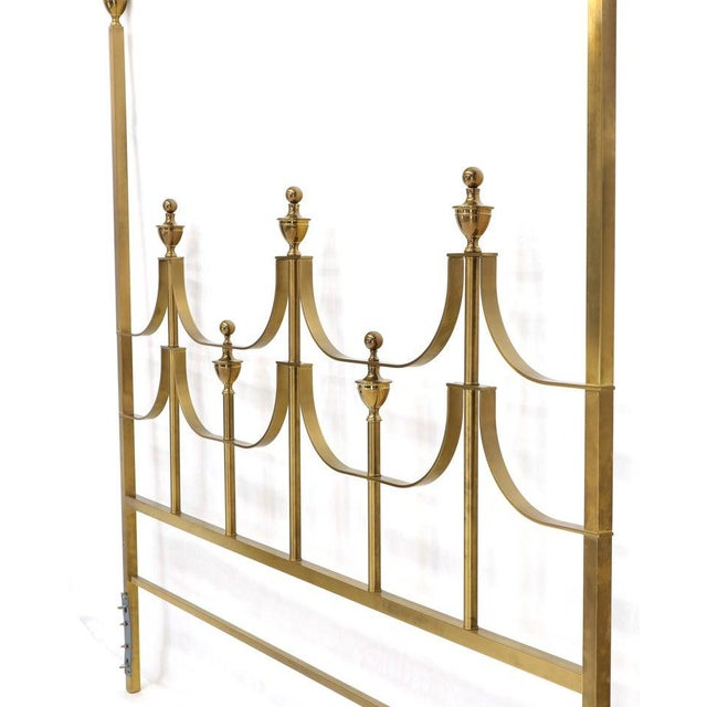 Mid-Century Modern Solid Brass Mastercraft King Size Tall Headboard Bed For Sale - Image 3 of 10