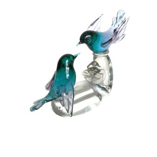 Turquoise Murano Glass Bird Figurine