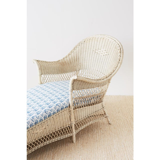 Blue Early 20th Century Vintage Painted Bar Harbor Willow and Wicker Chaise Lounge For Sale - Image 8 of 13