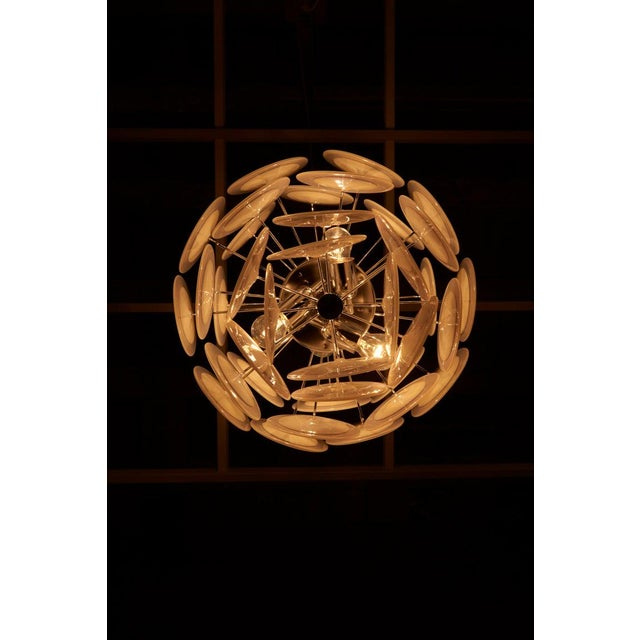 Metal One of Two White Iridescent Murano Glass Disc Chandelier Attributed to Vistosi For Sale - Image 7 of 8