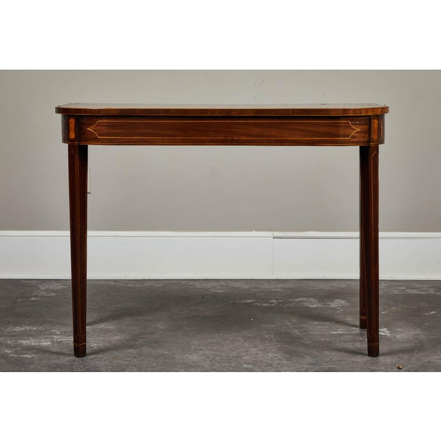 19th Century English Mahogany Inlaid Console Table For Sale - Image 9 of 9