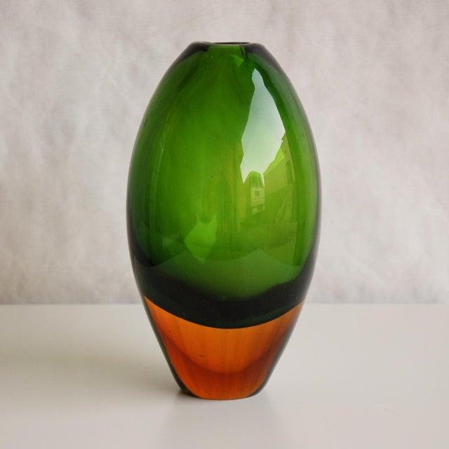 Circa 1950 Flavio Poli Murano Green & Yellow Glass Vase for Seguso Vetri d'Arte For Sale - Image 5 of 5