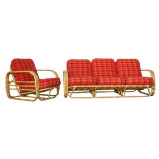 Restored Streamline Art Deco Rattan Living Room Set For Sale