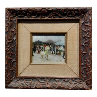 Women at the Market 1920s French Impressionist -Oil Painting For Sale