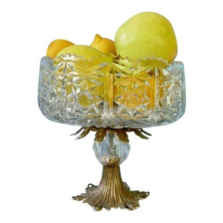Cut Glass Pedestal Bowl For Sale