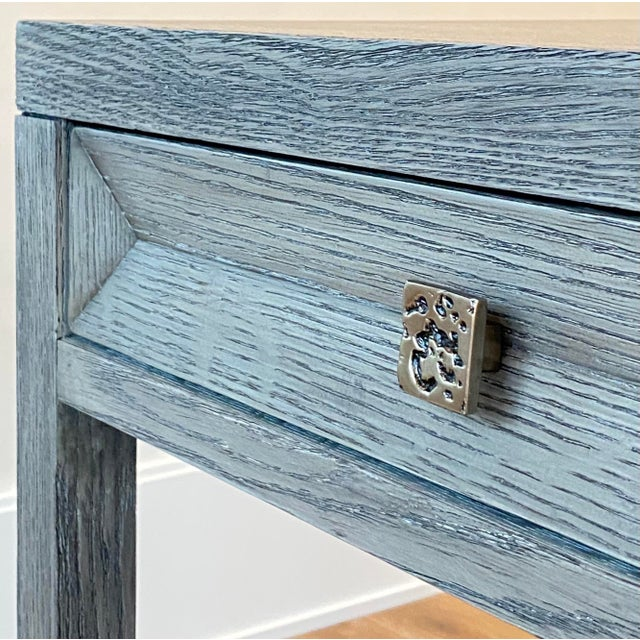 Transitional Gray Wooden Writing Desk For Sale - Image 4 of 8