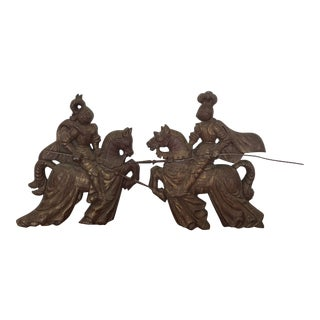 Vintage Cast Iron Metal Jousting Knights on Horseback - a Pair For Sale