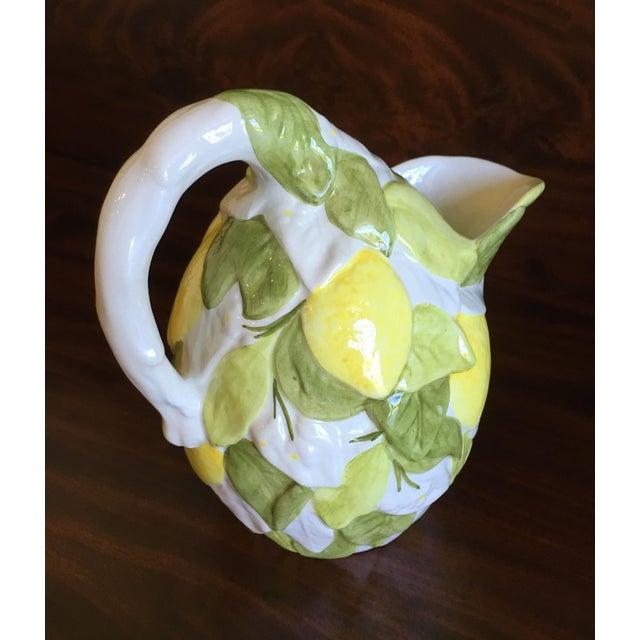 White Italian San Marco Lemon Shaped and Lemon Embellished Pitcher For Sale - Image 8 of 13