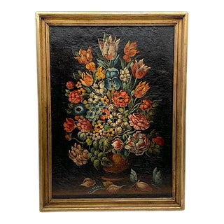 Late 19th Century Italian Floral Still Life Oil on Canvas by Silvano Chellini in Gold Frame For Sale