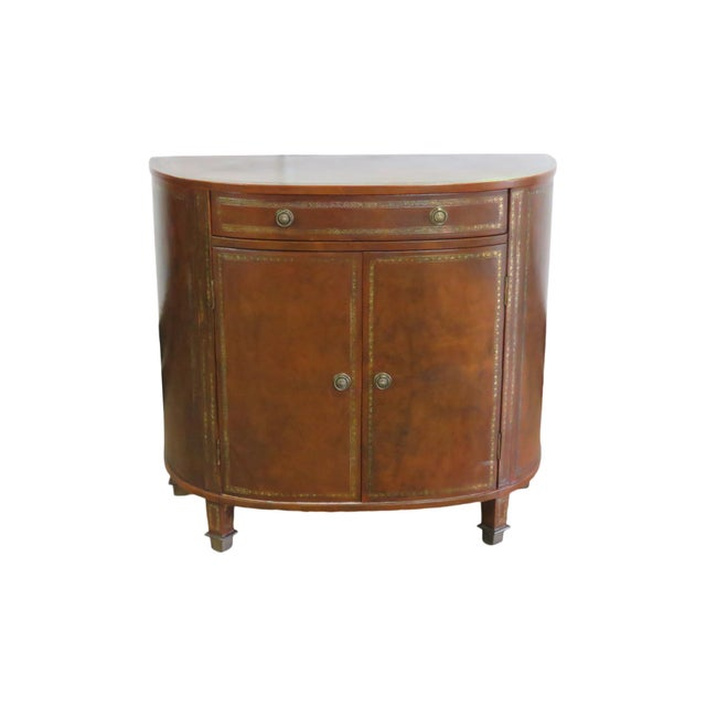 Brown Mid Century Tooled Leather Demilune Commode For Sale - Image 8 of 8