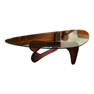 Noguchi Style Coffee Table With Boomerang Shaped Glass Top For Sale