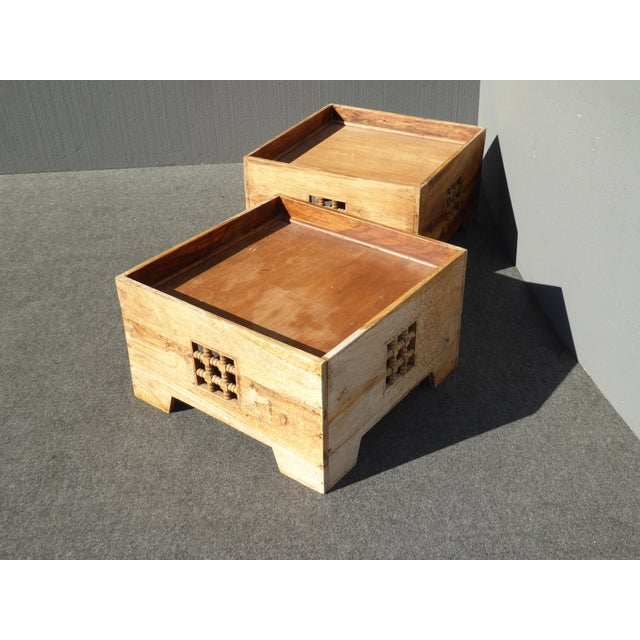 Teak Coffee Table And End Tables: Teak Asian Style Boxes Coffee Table End Tables
