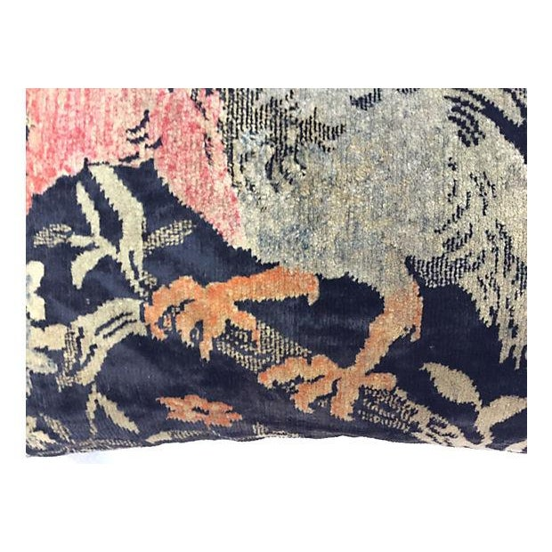 Antique Velvet Floral Textile Pillow W/ Parrot - Image 4 of 6
