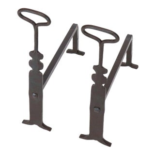 Pair of Arts & Crafts Style Wrought Iron End Irons For Sale